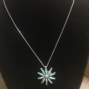 Jewelry - Zuni Turquoise Silver Pendant/Brooch on 925 Chain